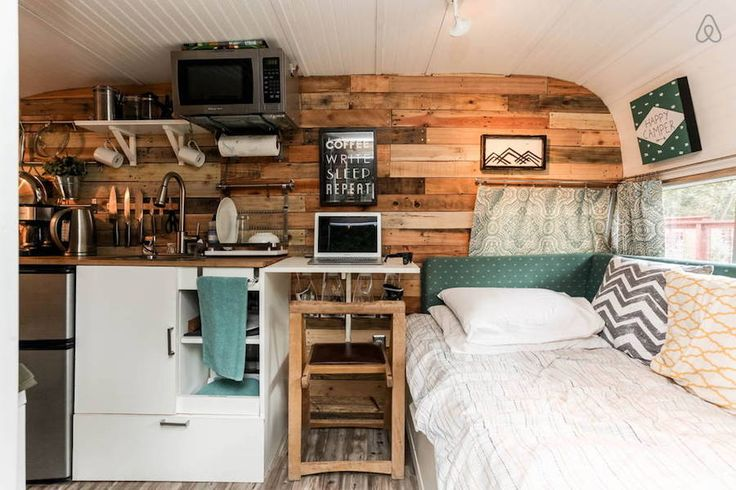 A 50+ year old camper restored and turned into guest quarters in Austin, Texas. More info.