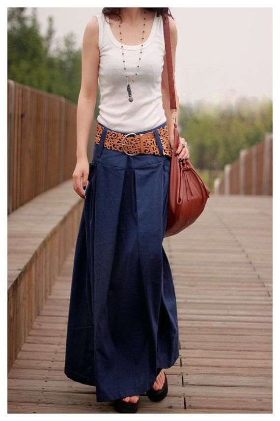women's dark blue flax Sexy Casual big Pleat big por ...