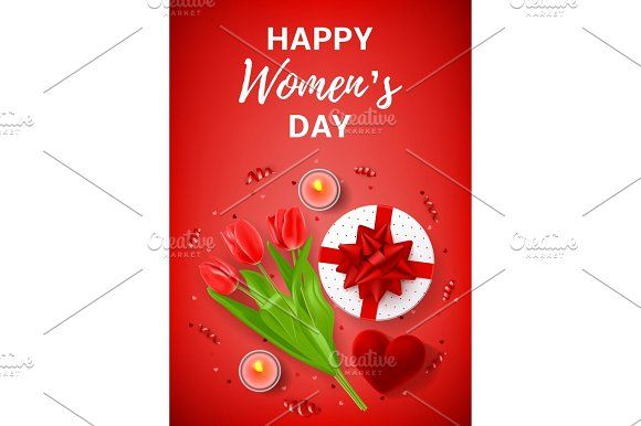Red greeting poster for Women's Day Graphics Top view on composition with flowers, gift box, case for ring, candles and confetti. Vector illustra by Andrey Yaroslavtsev