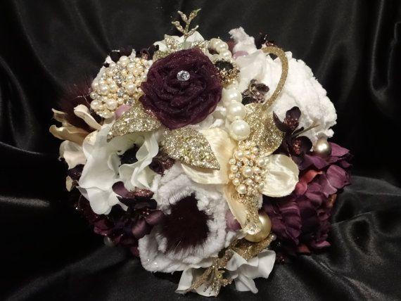 Custom Order For Natalie Dark Plum And Gold Bouquet Gold Bouquet Floral Wedding Burgundy Gold