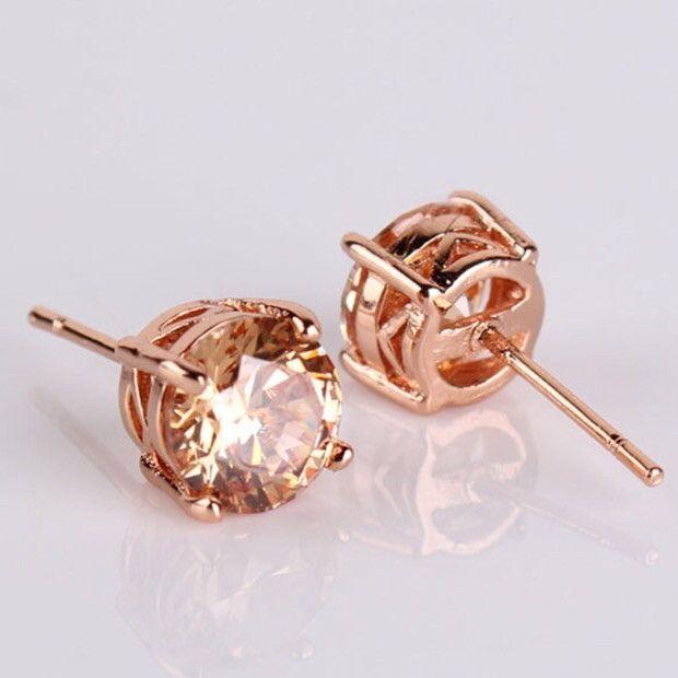 18k Earrings: Rose Gold - Champagne