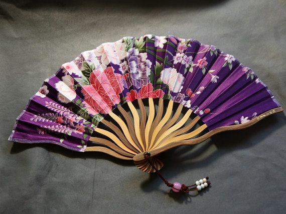 Handmade Silk Bamboo Lady Fan Flower Design by emmasilver76