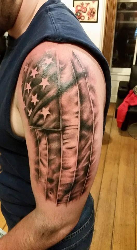 American flag arm tattoo sleeve