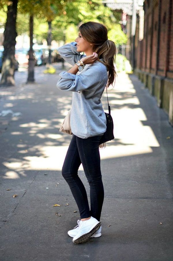 Cute but comfy sporty outfit - Runners with jeans and a baggy shaped jumper with hair in pony tail