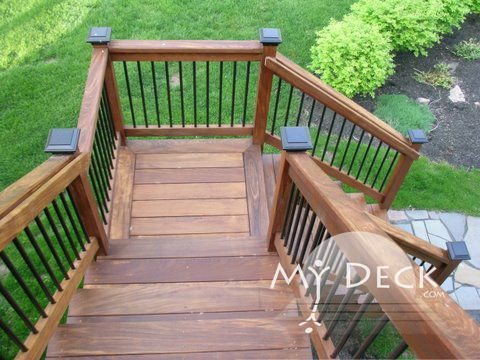 how to build 90 degree corner deck stairs