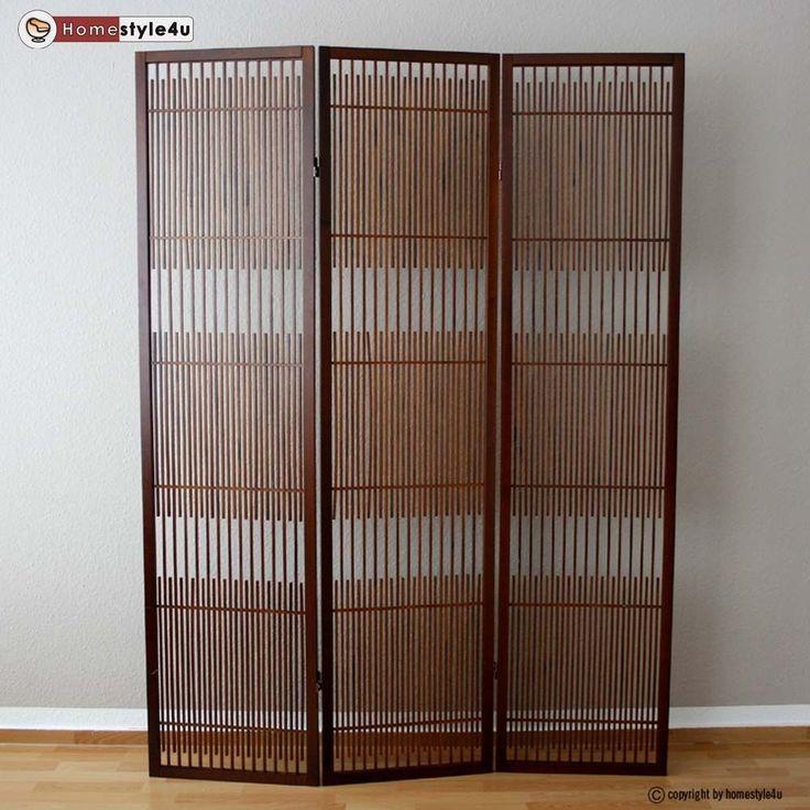 3 fach Paravent Raumteiler Holz Trennwand spanische Wand Sichtschutz Braun in Möbel & Wohnen, Dekoration, Paravents | eBay