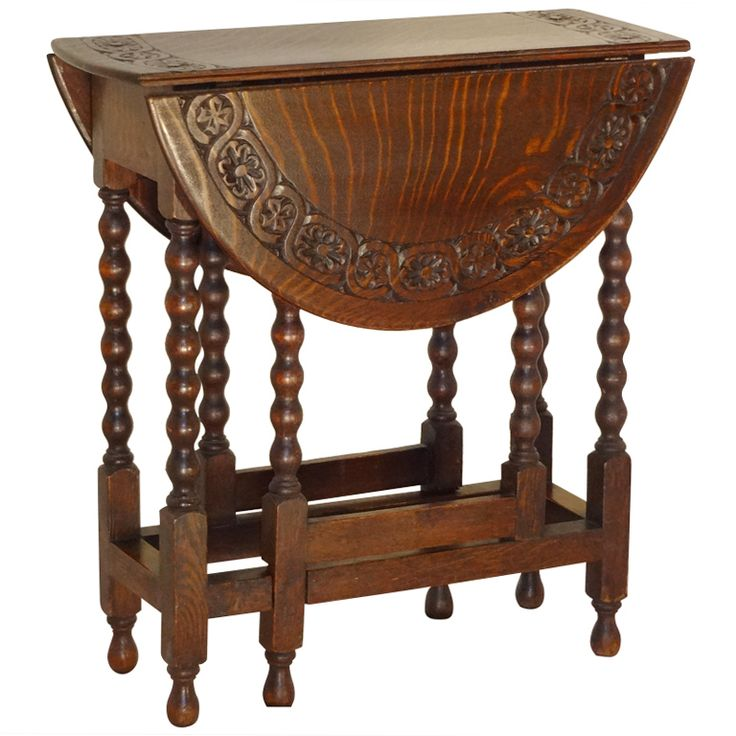 19th C. Bob Leg Gate Leg Table With Carved Top