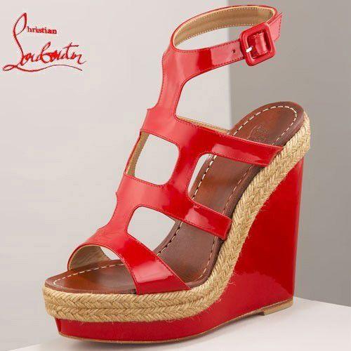 Chaussure Louboutin Pas Cher Sandale Rouge en Cuir Verni Talon Compensé Open-toes à Plateaux0 #shoesforwomen