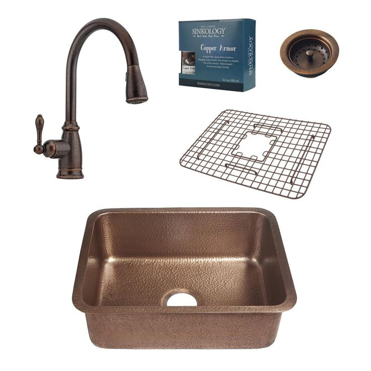 Pfister All-In-One Renoir 23 in. Undermount Copper Kitchen Sink Design Kit with Rustic Bronze Pull Down Faucet, Antique Copper