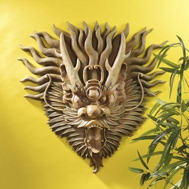Tibetan Sculptural Dragon Wall Mask