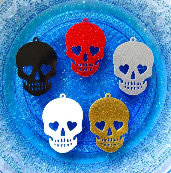 5 pcs  Large Glitter Skulls Acrylic Laser Cut by CraftyMissBettie