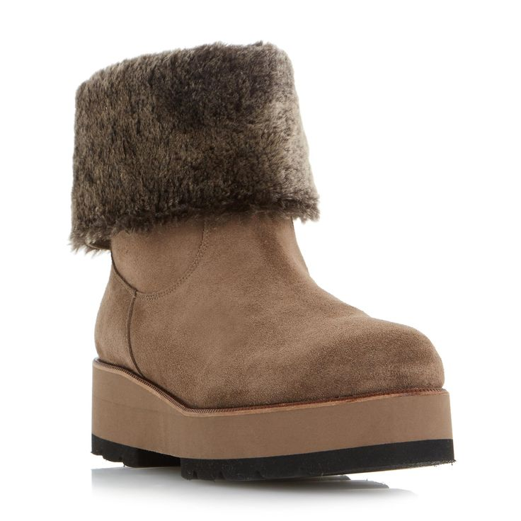 DUNE BLACK LADIES ROME - Shearling Lined Flatform Calf Boot - taupe | Dune Shoes Online