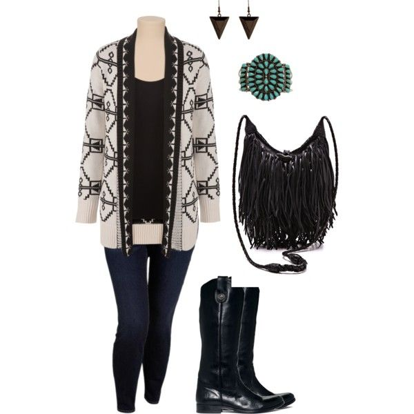 """""""Aztec Sweater- Plus Size Outfit"""""""