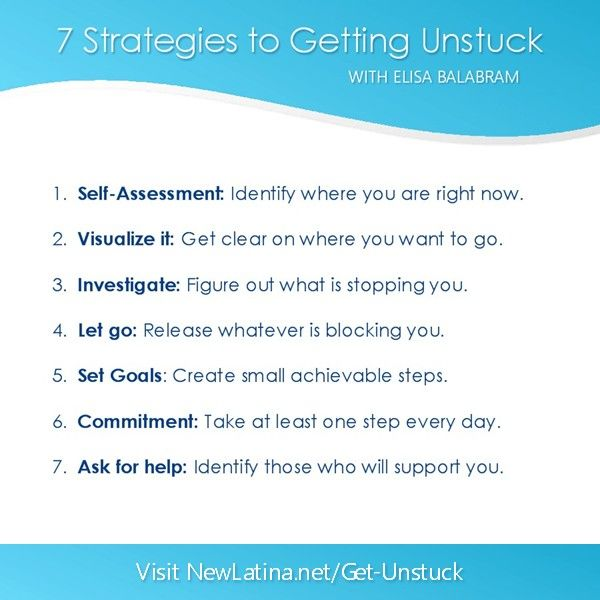 7 Strategies for Getting Unstuck.  Start your business or creative project in 2014!  Watch this FREE WEBINAR at http://newlatina.net/get-unstuck/ Internet Site, Creative Projects,  Website, Web Site, Free Webinar