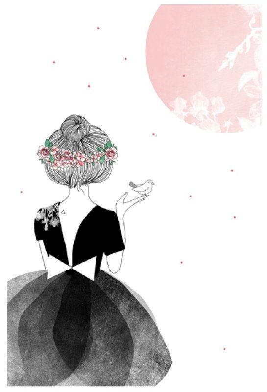My Lovely Thing 'Kaart Meisje Met Vogel' www.petitelouise.nl
