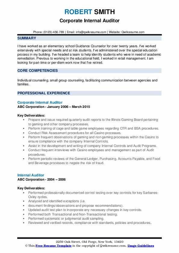 Internal Auditor Resume Samples Qwikresume Resume Template Cv Template Resume
