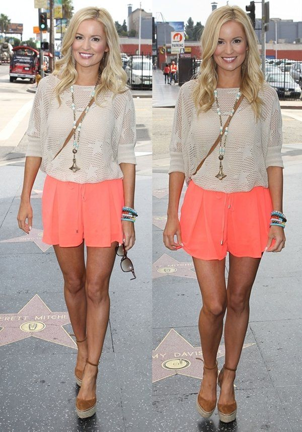 Beige top + neon coral shorts+ wedges