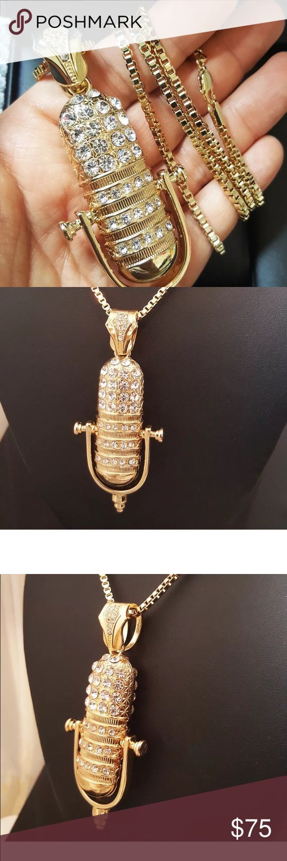 """New Gold Iced Out Hip Hop Microphone Music Pendant Necklace :  Hip Hop Celebrity Style SIZE OF PENDANT:  1.5"""" x 3.5"""" CHAIN:  3mm 30"""" Box Chain  14K Gold plated    Retail Price : $199 Accessories Jewelry"""