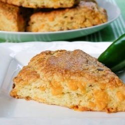 Savory scones made with Cheddar cheese, fresh jalapenos, and bacon.