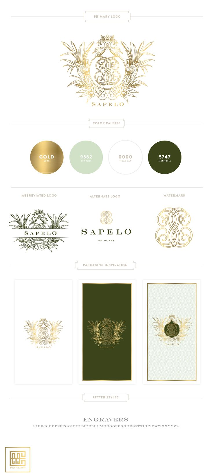 New Branding Design for Sapelo Skin Care | Mint, Gold, Green - Custom Crest…