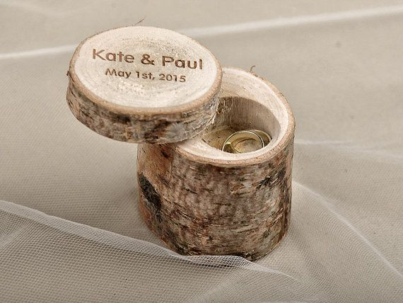 Engraved Wood Wedding Ring Bearer Slice, Rustic Wooden Ring Holder , Burlap Ring Bearer Pillow on Etsy, $35.00