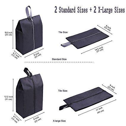 Amazon.com: YAMIU Travel Shoe Bags 4-Pack(2 Sizes) Waterproof Nylon With Zipper For Men & Women (Black): Clothing