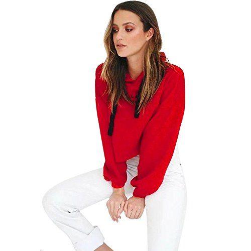 nice Hoodie Sweatshirt Damen, DoraMe Frauen Langen Ärmeln Kapuzenpullover Winter Brief Druck Bluse Rundhals Verband T-Shirt Kurze Hemd (Rot, S)