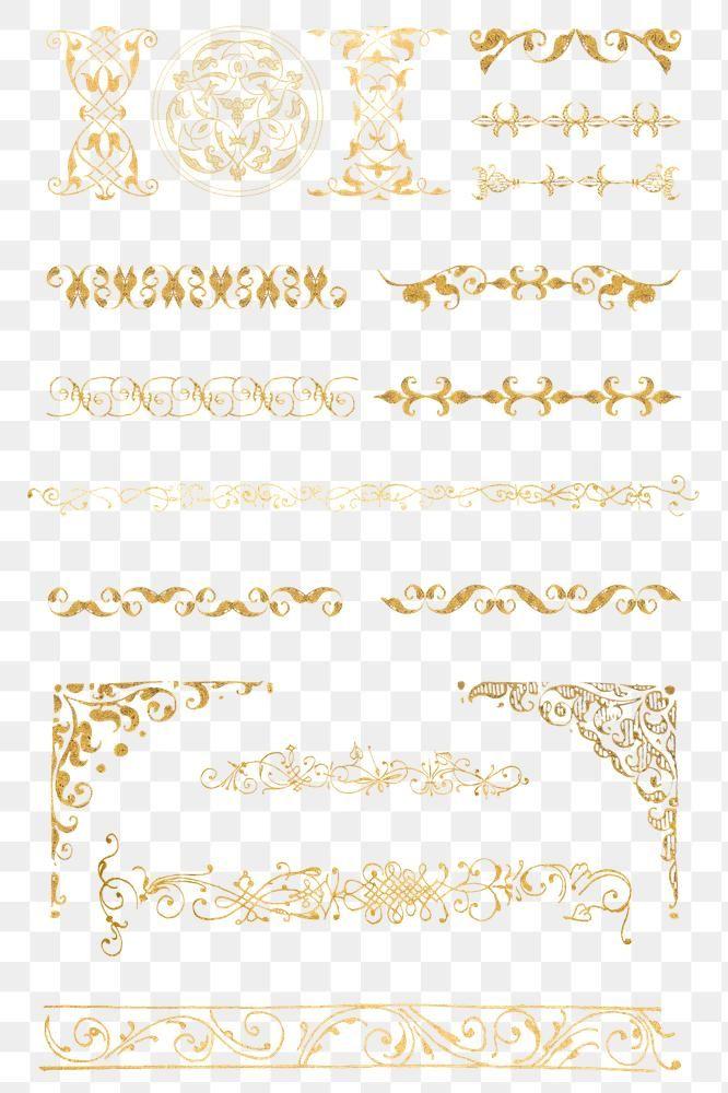 Download Premium Png Of Gold Vintage Divider Png Victorian Element Set Png Vintage Victorian
