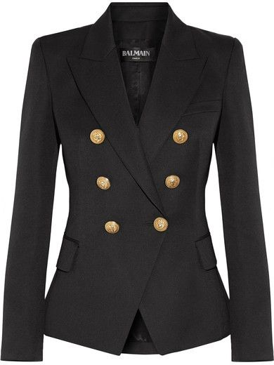 £1,425 Balmain's sharply tailored #Black #blazer has lion-embossed #gold buttons that emphasize a narrow waist | #OOTD #CapsuleWardrobe | #Ad