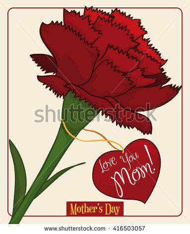 Beauty red carnation with heart-shape label with greeting message to commemorate Mother's Day.