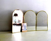 Vintage Tri Fold Mirror -  Brass Dome Shape - Vanity - Shaving - Home DecorAmazing Etsy, Vintage, Stalls Shops Display Ideas, Dome Shape, Folding Mirrors, Home Decor, Etsy Finding, Try Folding, Brass Dome