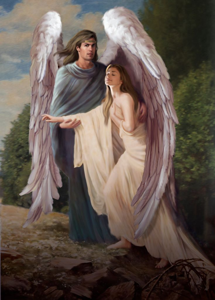 Guardian angel /// Psalm 91 Protecting woman. Please also visit www.JustForYouPropheticArt.com for colorful inspirational Prophetic Art and stories. Thank you so much! Blessings!