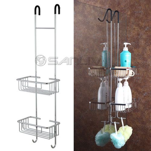 Over Door Double Shelf Hanging Shower Caddy