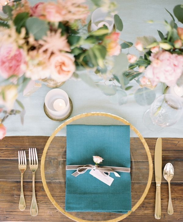 Gold and Teal Place Setting with Blush Flowers | Lauren Kinsey Photography | Retro Pie Wedding Inspired by the Waitress Musical!
