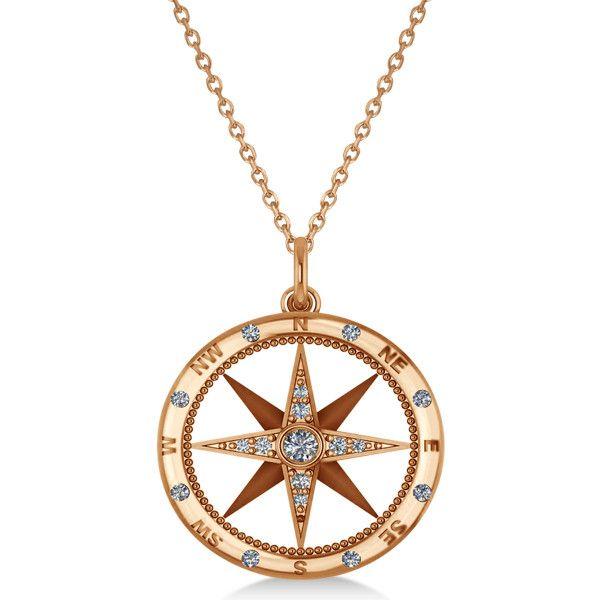 Allurez Compass Necklace Pendant Diamond Accented 14kRose Gold... (2.525 BRL) ❤ liked on Polyvore featuring jewelry, necklaces, jewelry necklaces, rose, rose gold necklace, 14k yellow gold necklace, gold pendant, pink necklace and pink pendant necklace