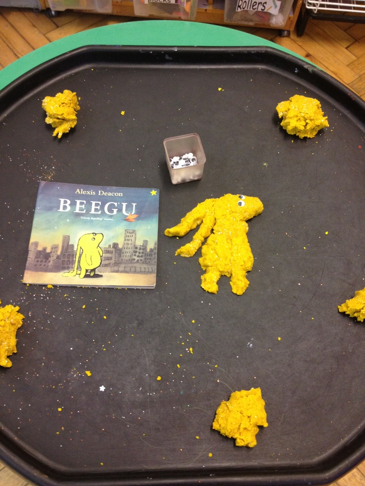 Beegu play-dough making with googly eyes