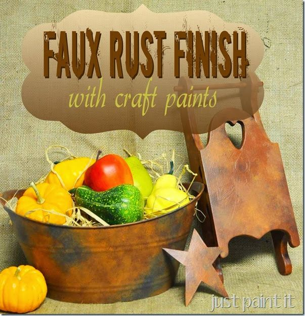 simple way to create a Faux Rust finish on dollar store items or thrift shop goodies!