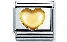 Nomination stainless steel and 18ct gold Raised Heart Classic Charm