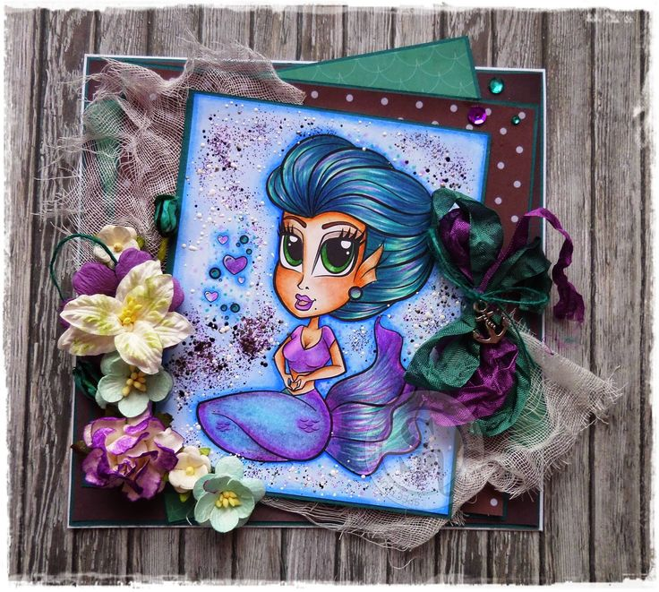 Simply Betty Stamps Coloured with Spectrum Noir Pens and Pencils. Designed by Tracy Freeman #SpectrumNoir #Simplybetty #mermaid