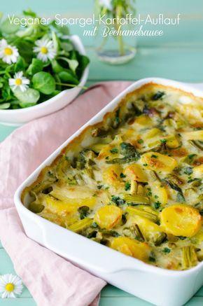 Rezept für Veganer Spargel-Kartoffel-Auflauf mit Béchamelsauce - ein perfektes Rezept für den Frühling. Eine sattmachendes, saisonales Gericht.