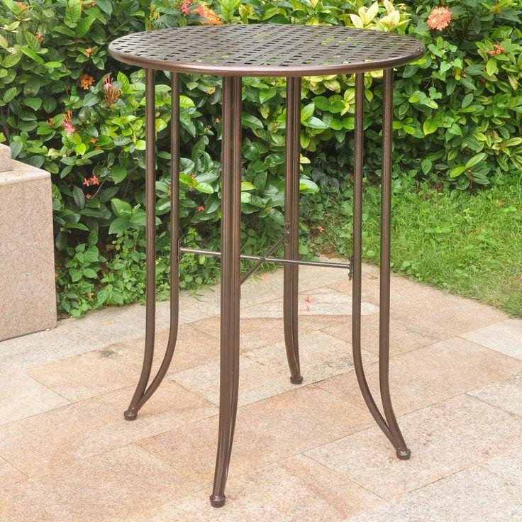 International Caravan Mandalay Outdoor Iron Bar-height Table (Hammered Bronze), Brown, Patio Furniture