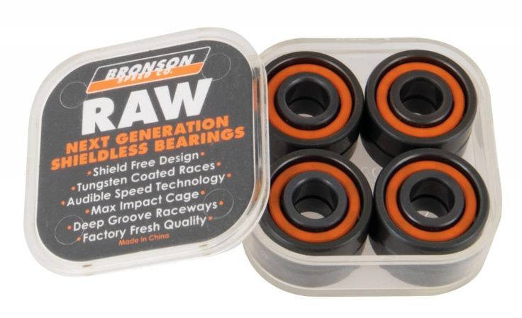 #Bronson Speed Co. Raw Skateboard Bearings (Pack #Features:Shield Free Design - No shield grooves in either race for no cred, dust and dirt build up - super fast sound and spinFast, Slick and non Stick - Tungsten coating to ensure an extremely slick finish with low drag and longer lifeThe Sound of Speed - Audible speed technology combined with no shields enhances the raw sound of speed requiring minimal oilMaximum Impact - Super strong and durable, non-distortion fiberglass filled pure nylon…