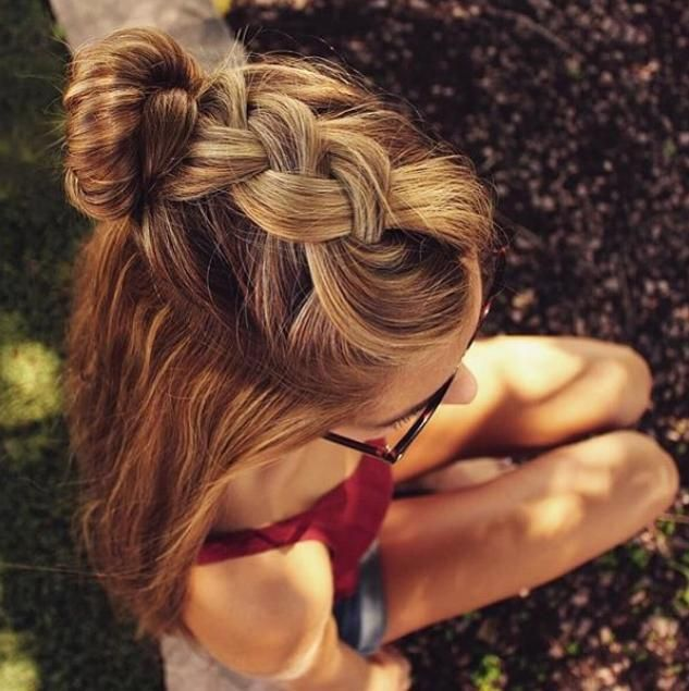 Braid into a bun with summer curls