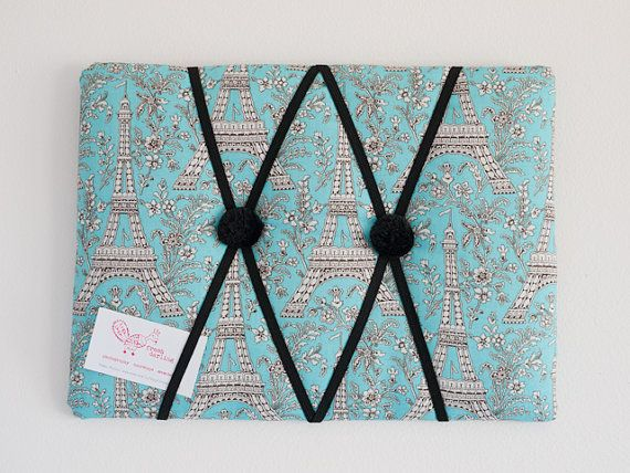 Blue Eiffel Tower Paris handmade fabric bulletin by freshdarling