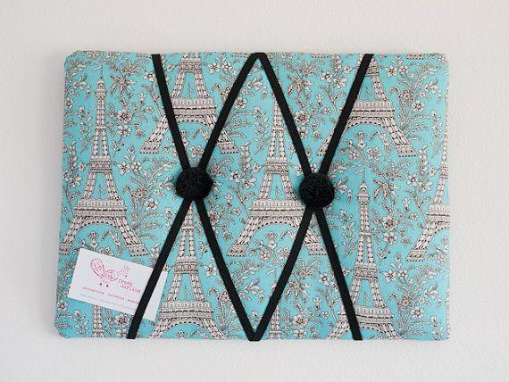 Blue Eiffel Tower Paris handmade fabric bulletin by freshdarling