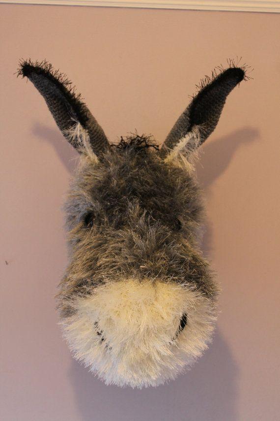 Laine Crochet énorme monté tête trophée peluche * LULU * gris moelleux âne pépinière Tenture murale décorative Art fibre taxidermie Arigurumi OOAK