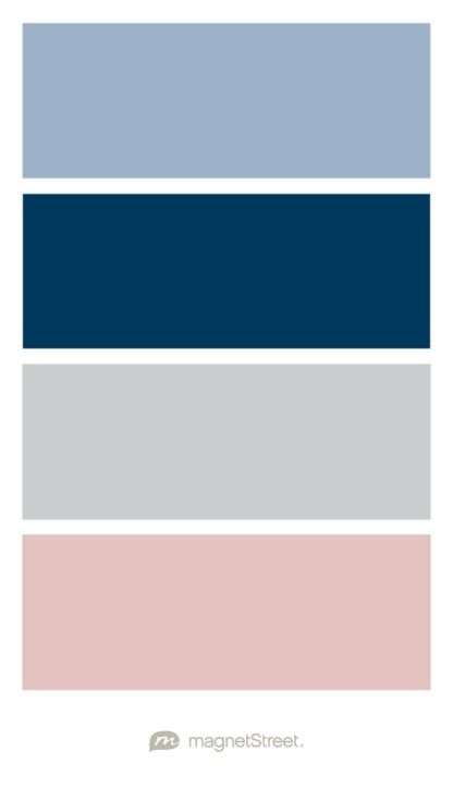 Custom Blue, Navy, Custom Gray, and Custom Pink Wedding Color Palette - custom color palette created at MagnetStreet.com