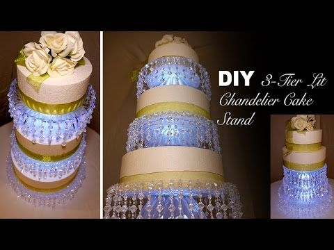 DIY | 3-Tier Lit Chandelier Wedding Cake Stand - YouTube