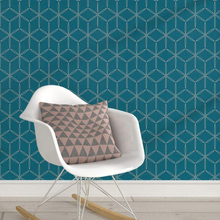 papier peint intiss vianney coloris bleu paon chambre. Black Bedroom Furniture Sets. Home Design Ideas
