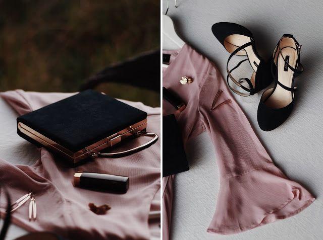 Stylizacja Na Wesele Rozowa Sukienka Granatowa Torebka I Granatowe Buty Ze Zlotymi Dodatkami Leather Bridal Blog Leather Glove